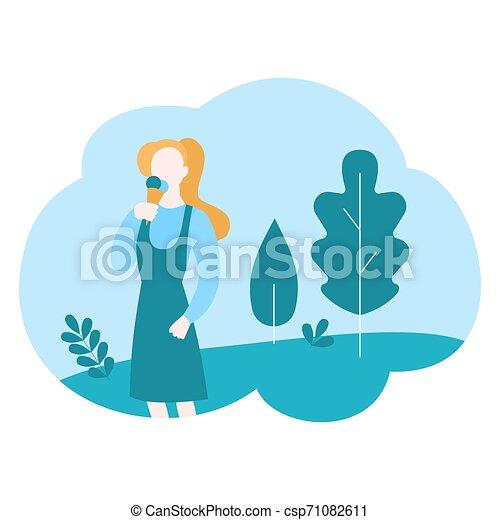 été, manger, doux, parc, ice-cream., girl, week-end, dessin animé - csp71082611
