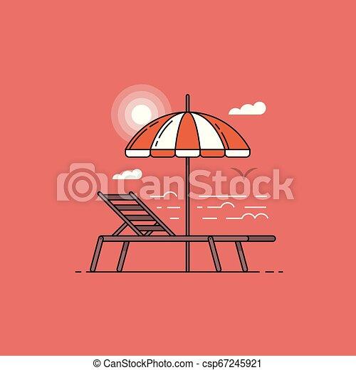 été, parapluie, plat, coucher soleil, mer, chaise, plage, paysage, design. - csp67245921