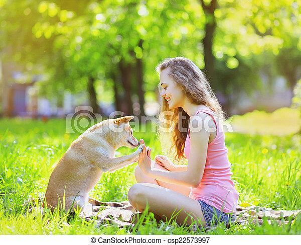 été, parc, ensoleillé, chien, amusement, girl, avoir, heureux - csp22573997