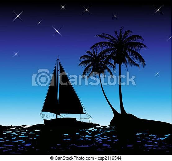 été, paume, yacht, fond, arbres - csp2119544