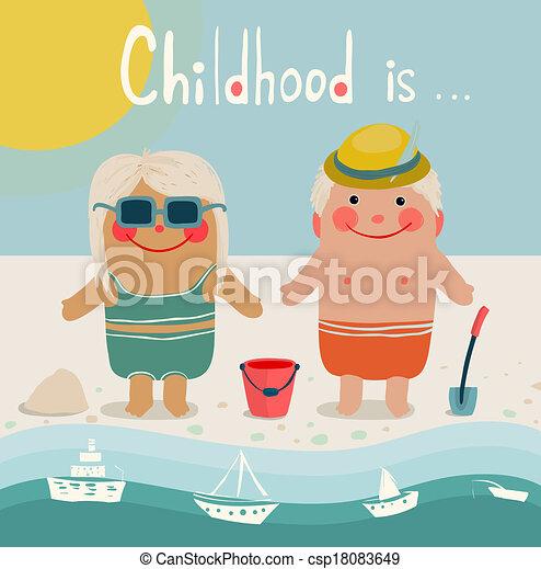 t plage amis enfants bains de soleil gosses t. Black Bedroom Furniture Sets. Home Design Ideas
