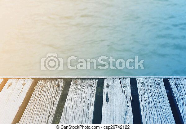 été, pont, bois, vendange, sur, mer, temps - csp26742122