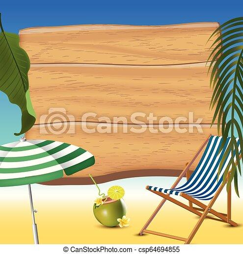été, réaliste, illustration, arrière-plan., vecteur, temps, vacances, plage - csp64694855