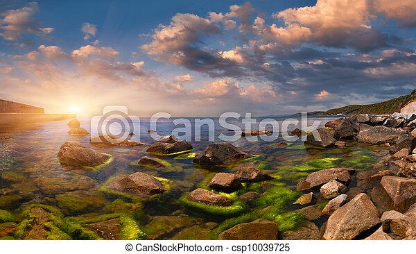 été, seascape., levers de soleil - csp10039725