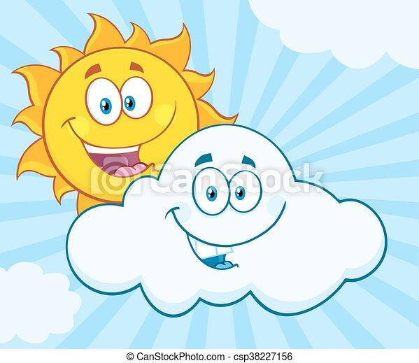 été, sourire heureux, nuage, soleil - csp38227156