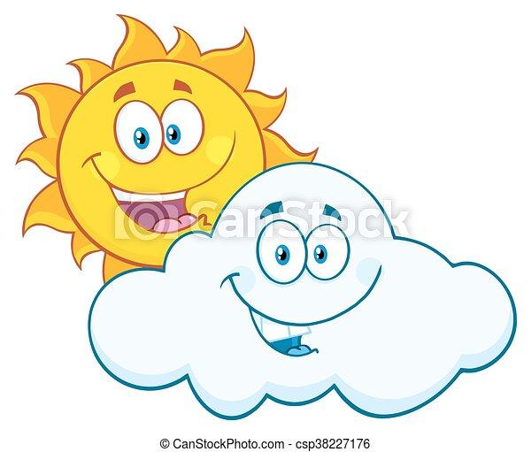 été, sourire heureux, nuage, soleil - csp38227176