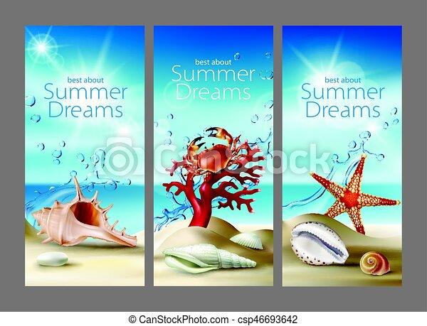 été, turquoise, seashells, plage, corail, arrière-plans, trois, etoile mer, cailloux, vecteur, crabe, sablonneux - csp46693642