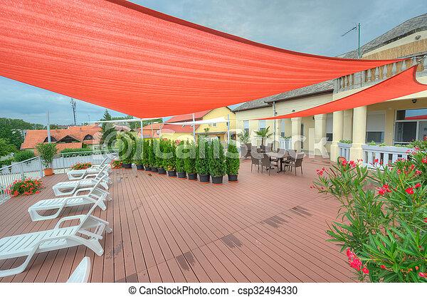 été, voiles, terrasse, ombre