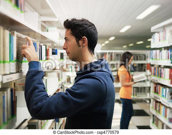étagère, prendre, livre, type, bibliothèque - csp4770579