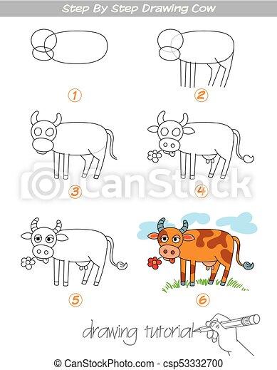 Etape Dessin Vache Rigolote Cow Vache Character