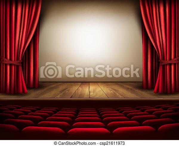 étape, seats., théâtre, vector., rideau, rouges - csp21611973