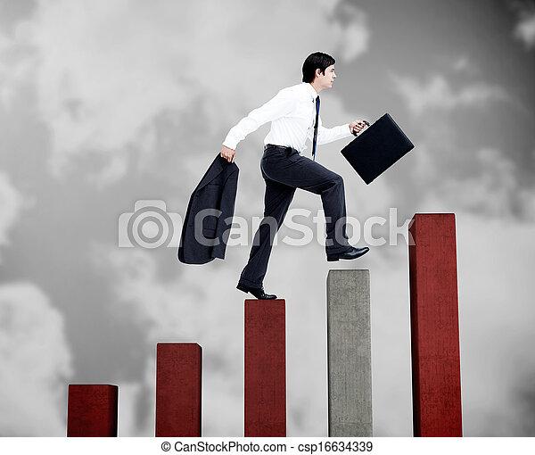 étapes, gris, homme affaires, rouges, escalade, jeune - csp16634339