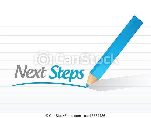 étapes, message, conception, illustration, suivant - csp18874436