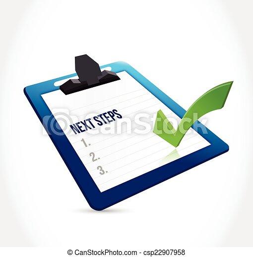 étapes, presse-papiers, conception, illustration, suivant - csp22907958