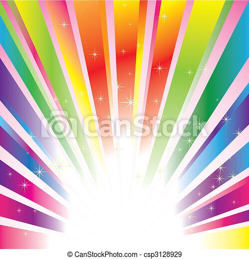 étincelant, étoiles, coloré, fond, éclater - csp3128929