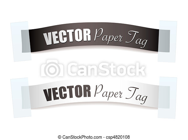 étiquette papier, argent, ruban - csp4820108