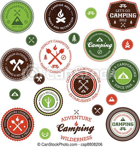 étiquettes, camping - csp8808206