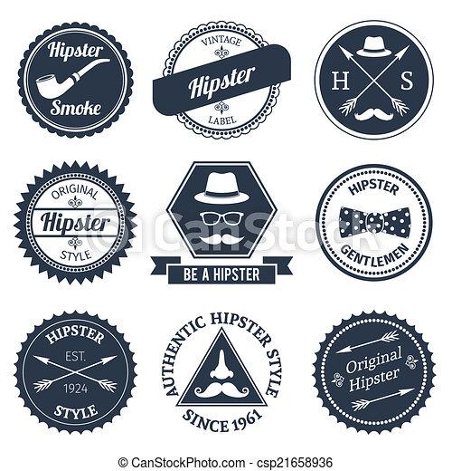étiquettes, ensemble, hipster - csp21658936