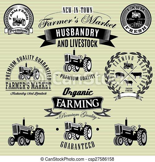 étiquettes, ensemble, tracteur, bétail, récolte - csp27586158