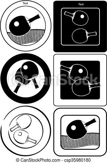 étiquettes, table, emblèmes, tennis - csp35980180