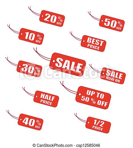 étiquettes, vente, rouges - csp12585046