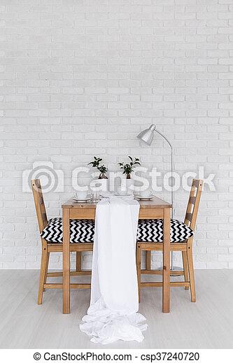 étkező, fehér, asztal, befedett - csp37240720
