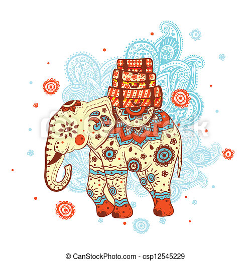 étnico, elefante - csp12545229