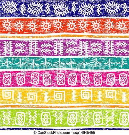 De color grunge con motivos étnicos - csp14945455