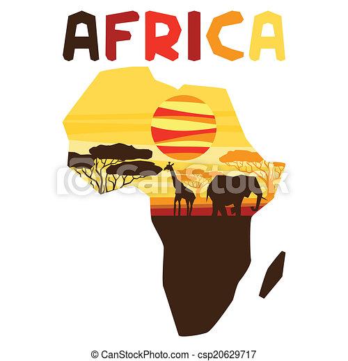 étnico, map., plano de fondo, ilustración, africano - csp20629717