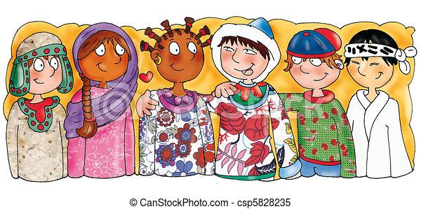 La etnia de los niños, las nacionalidades - csp5828235