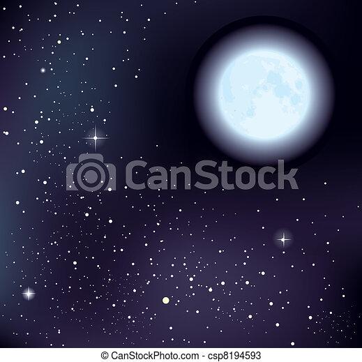 étoilé, vecteur, ciel, lune - csp8194593