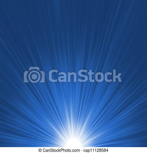 étoile bleue, éclater, flare., eps, 8, blanc - csp11128584