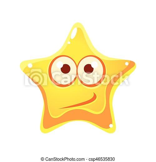 étoile, caractère, confondu, type caractère jaune, émotif, dessin animé - csp46535830