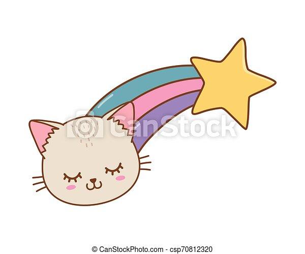 étoile filante, chat - csp70812320