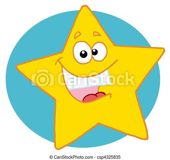 étoile, heureux, caractère, dessin animé, mascotte - csp4325835