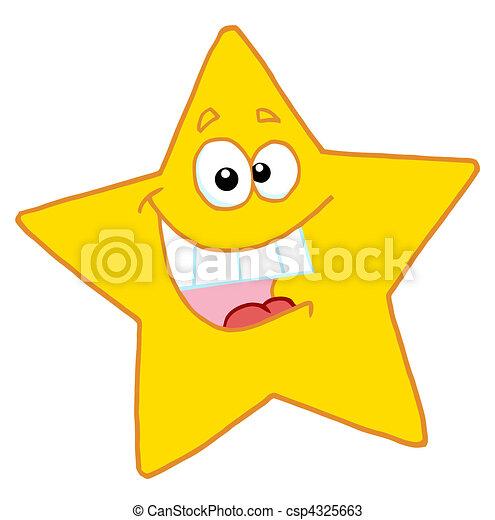 étoile, heureux, caractère, dessin animé, mascotte - csp4325663