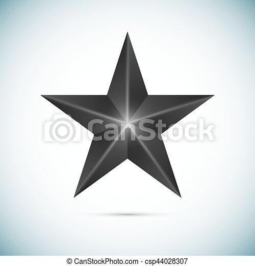 étoile, isolé, vecteur, arrière-plan noir, blanc - csp44028307