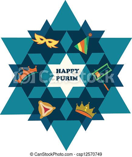étoile, juif, purim., david, objets, vacances, heureux - csp12570749