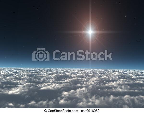 étoile, nuages, au-dessus - csp0916960