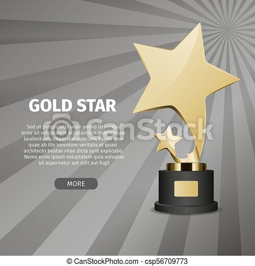 étoile, or, illustration, réaliste, stand, brillant - csp56709773