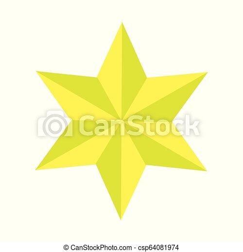 étoile, or, pointu, six, illustration, élégant, vecteur - csp64081974