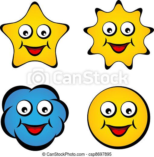 étoile, soleil, visage smiley, vecteur, sourire, dessin animé, nuage - csp8697895