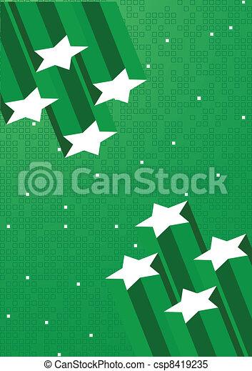 étoile, vecteur, arrière-plan vert - csp8419235