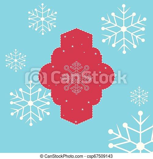 étoiles, étiquette, décoration, fond, snowflake blanc - csp67509143