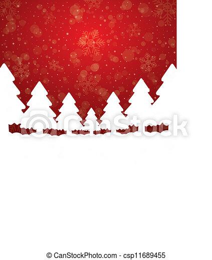 étoiles, arbre, neige, fond, blanc rouge - csp11689455