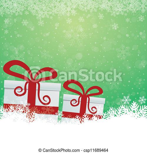 étoiles, cadeau, neige vert, fond, blanc - csp11689464