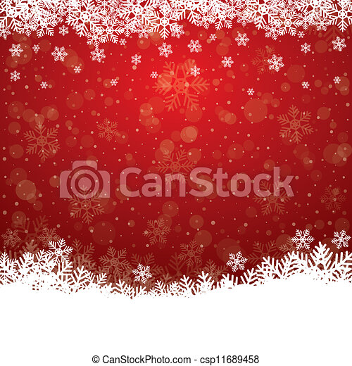 étoiles, neige, fond, automne, blanc rouge - csp11689458