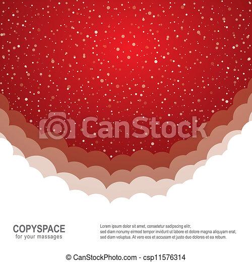 étoiles, neige, fond, snowflake blanc, rouges - csp11576314