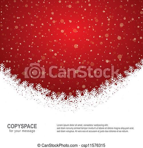 étoiles, neige, fond, snowflake blanc, rouges - csp11576315