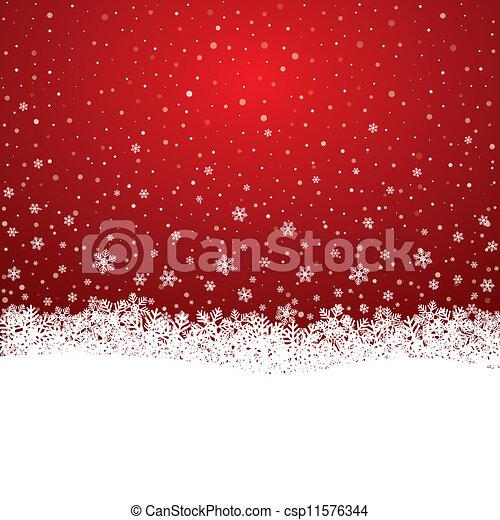 étoiles, neige, fond, snowflake blanc, rouges - csp11576344